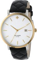 Kate Spade Metro Grand Goldplated Metal and Leather Watch Black - Lyst