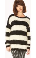 Forever 21 Fuzzy Striped Sweater - Lyst