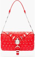 Versace Red Leather Quilted and Studded Shoulder Bag - Lyst