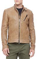Belstaff Kirkham Leather Biker Jacket Tan - Lyst