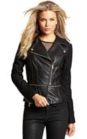 Guess Brentwood Faux Leather Asymmetrical Zip Jacket - Lyst
