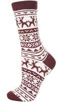 Topshop Chunky Reindeer Fairisle Socks - Lyst