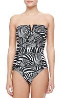 Trina Turk Tanzania Zebra Bandeau Onepiece Swimsuit - Lyst