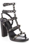 Valentino Noir Rockstud Leather Sandals - Lyst