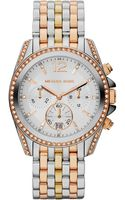 Michael Kors Women's Chronograph Pressley Tri-Tone Stainless Steel Bracelet Watch 39mm  - Lyst
