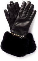 Valentino Rockstud Fur Trimmed Leather Gloves - Lyst