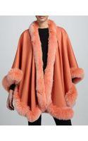 Sofia Cashmere Fox Fur Trimmed Cashmere U Cape Mercury - Lyst