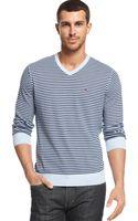 Tommy Hilfiger V-Neck Stripe Sweater - Lyst