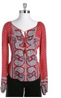 Lucky Brand Kat Mixed Print Top - Lyst