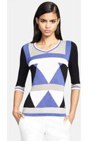Versace Colorblock Intarsia Knit Sweater - Lyst