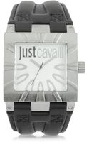 Just Cavalli Timesquare 3h Silver Dial Black Strap Mens Watch - Lyst