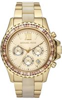 Michael Kors Golden Stainless Steel Parker Chronograph Glitz Watch - Lyst