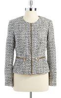Calvin Klein Tweed Jacket with Metal Zipper Accents - Lyst