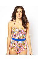 Asos Savannah Floral Belted Bandeau Swimsuit - Lyst