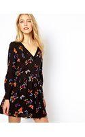 Oasis Butterfly Print Vneck Skater Dress - Lyst