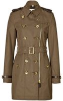 Burberry Brit Cotton Gabardine Leather Trim Trench Coat - Lyst
