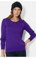 Lauren by Ralph Lauren Button Shoulder Cable Knit Sweater - Lyst