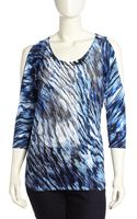 Alberto Makali Coldshoulder Printed Tunic Bluemulti Small - Lyst
