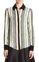 10 Crosby Derek Lam Striped Silk Button-front Blouse - Lyst