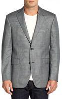 Saks Fifth Avenue Black Label Silkwool Slim Fit Check Jacket - Lyst