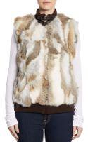Saks Fifth Avenue Black Dyed Rabbit Fur Combo Vest - Lyst