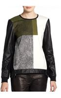Tibi Nelio Printed Leather sleeve Sweatshirt - Lyst