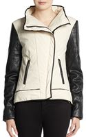 W118 By Walter Baker Faux Leather sleeved Jacket - Lyst