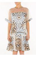 Philosophy di Alberta Ferretti Printed Dress with Mesh Shoulders - Lyst