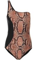Stella McCartney One Shoulder Snake Print Swimsuit - Lyst