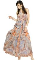 Etro Printed Silk Georgette Long Dress - Lyst
