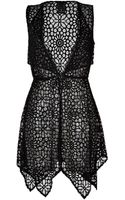 Anna Sui Sheer Crochet Lace Draped Hem Dress - Lyst