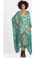 Emilio Pucci Capri Print Long Silk Charmeuse Caftan - Lyst