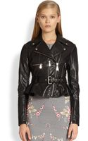 McQ by Alexander McQueen Peplum Leather Biker Jacket - Lyst