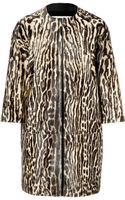 Valentino Haircalf Animal Print Coat - Lyst