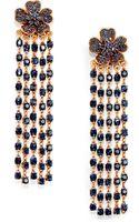 Oscar de la Renta Floral Crystal Tassel Clipon Earrings - Lyst