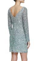 Aidan Mattox Longsleeve Sequined Cocktail Dress Silver - Lyst