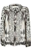 Roberto Cavalli Silk Animal Print Top - Lyst