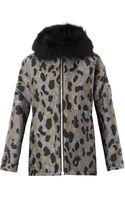 Moncler Gamme Rouge Camo-jacquard Fur-trim Down Coat - Lyst