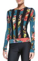 Jean Paul Gaultier Floral-print Dot-striped Top - Lyst