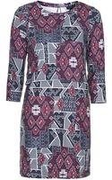 Topshop Aztec Print Overlay Dress - Lyst