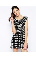 Ax Paris Day Dress in Square Print - Lyst