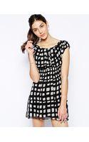 Ax Paris Day Dress in Square Print - Lyst