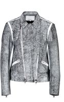 3.1 Phillip Lim Crackle Leather Biker Jacket in White - Lyst