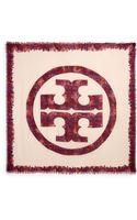 Tory Burch Painted Silk Wool Logo Scarf - Lyst
