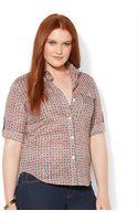 Lauren by Ralph Lauren Plus Size Tabsleeve Geoprint Top - Lyst