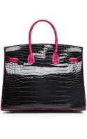 Heritage Auctions Special Collection Hermes 35cm Black  Rose Shocking Shiny Porosus Limited Edition Birkin - Lyst