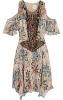 Anna Sui Floralprint Silkchiffon and Embellished Tulle Mini Dress - Lyst