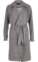 River Island Grey Herringbone Trench Coat - Lyst