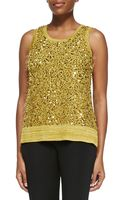 Misook Sequined Metallic Knit Tank - Lyst