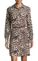 BCBGMAXAZRIA Leopardprint Jersey Belted Shirtdress - Lyst
